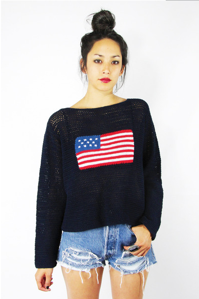 Crochet American Flag Crop Sweater from Chictopia for $68